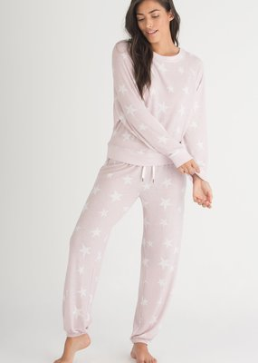 Honeydew Star Seeker Lounge Set - Pink with White Stars