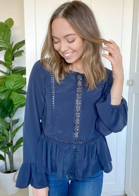 Molly Bracken Boho Blouse - Navy