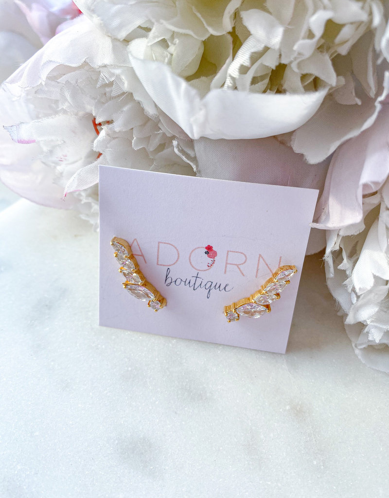 Adorn Collection Jewelry Gold Long Crawler Earring