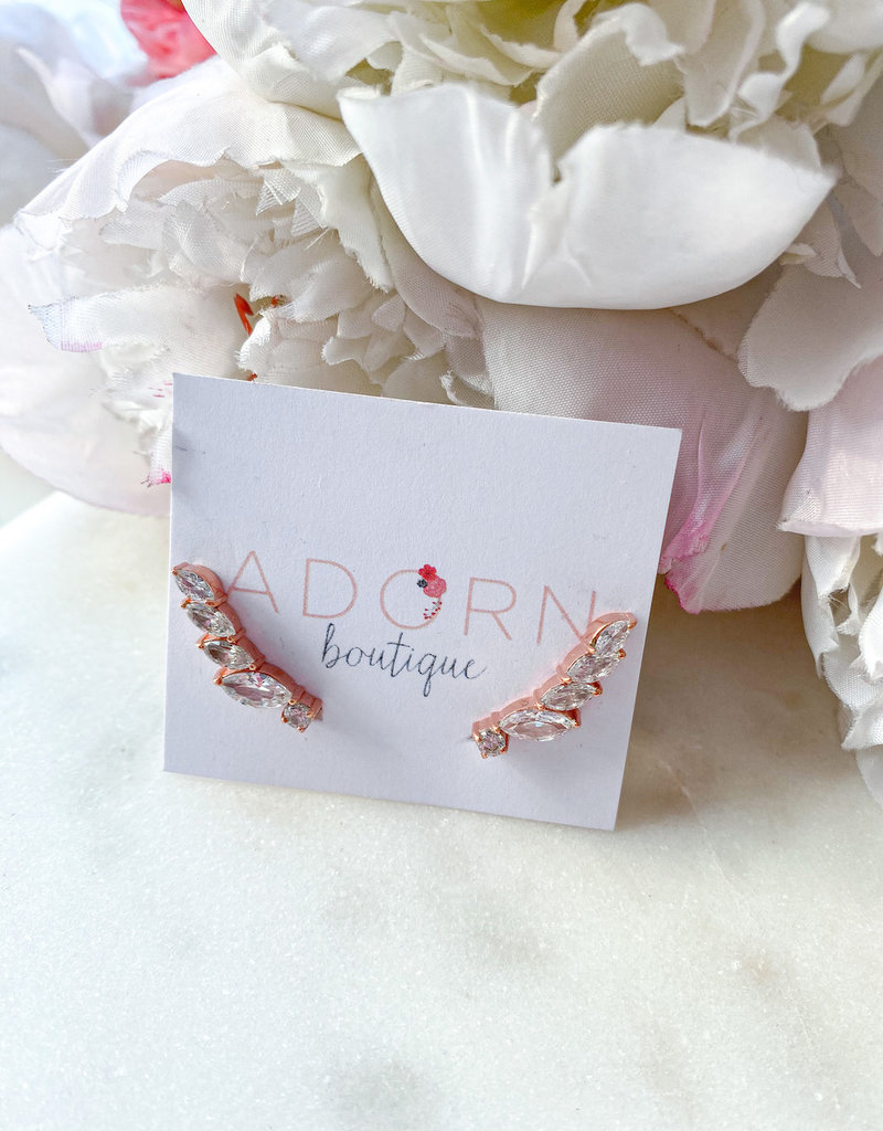Adorn Collection Jewelry Rose Gold Long Crawler Earring