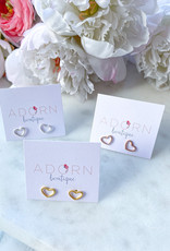 Adorn Collection Jewelry Heart Outline Studs