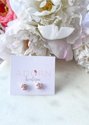 Adorn Collection Jewelry Triple Circle Studs in Crystal Quartz