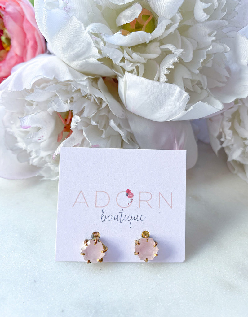 Adorn Collection Jewelry Gold Hexagon Studs