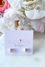 Adorn Collection Jewelry Silver Rectangle Studs