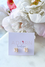 Adorn Collection Jewelry Gold Rectangle Studs