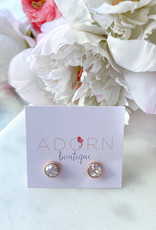Adorn Collection Jewelry Rose Gold Circle Studs