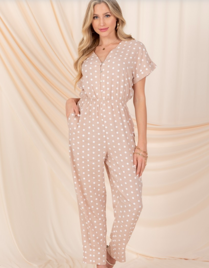 Everly Mira Jumpsuit in Taupe Polkadot