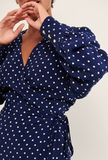 Part Two Gauri Blouse in Navy Polkadot