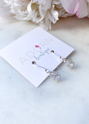 Adorn Collection Jewelry Dangle Teardrop Earrings with Crystal Quartz