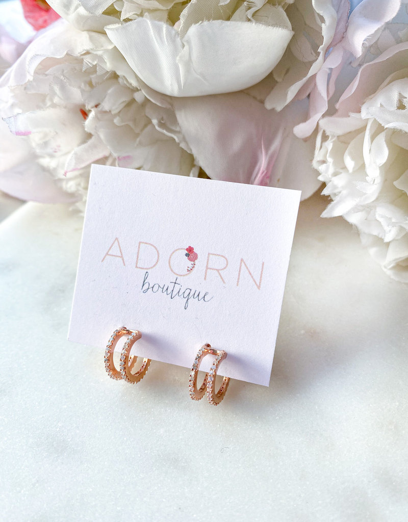 Adorn Collection Jewelry CZ Double Hoops
