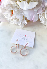 Adorn Collection Jewelry Adorn Rose Gold Dangle Hoops with CZ