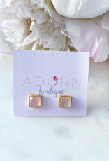 Adorn Collection Jewelry Gold Square Studs