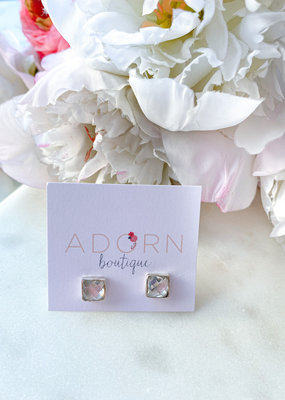 Adorn Collection Jewelry Silver Square Studs