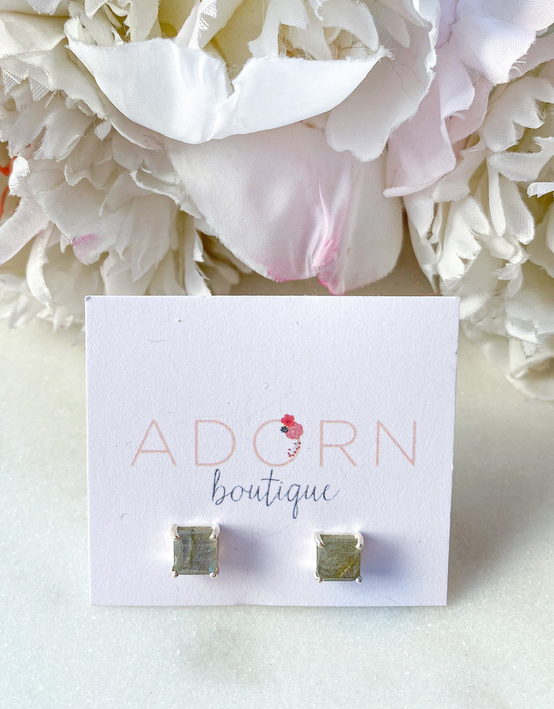 Adorn Collection Jewelry Adorn Silver Labradorite Square Studs
