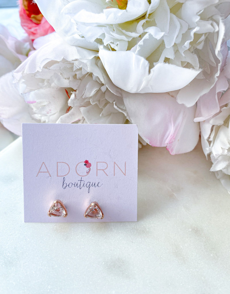 Adorn Collection Jewelry Rose Gold Triangle Studs