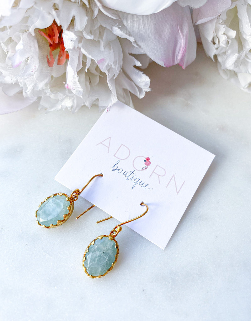 Adorn Collection Jewelry Adorn Gold Vintage Inspired Oval Earrings with Aqua Chalcedony Stone