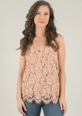 Space46 Jayla Lace Tank in Taupe