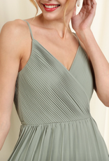 Soieblu Vera Pleated Wrap Dress - Dusty Sage