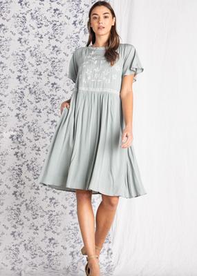 Polagram Elena Embroidered Midi Dress