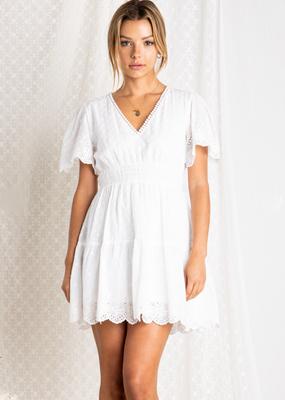 Baevely Ellia Eyelet Detail Mini Dress *Two Colours*