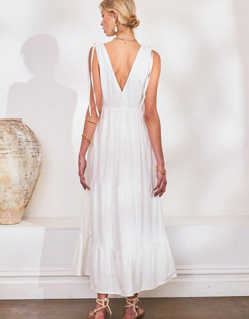 Lost in Lunar Savannah Maxi Dress in White