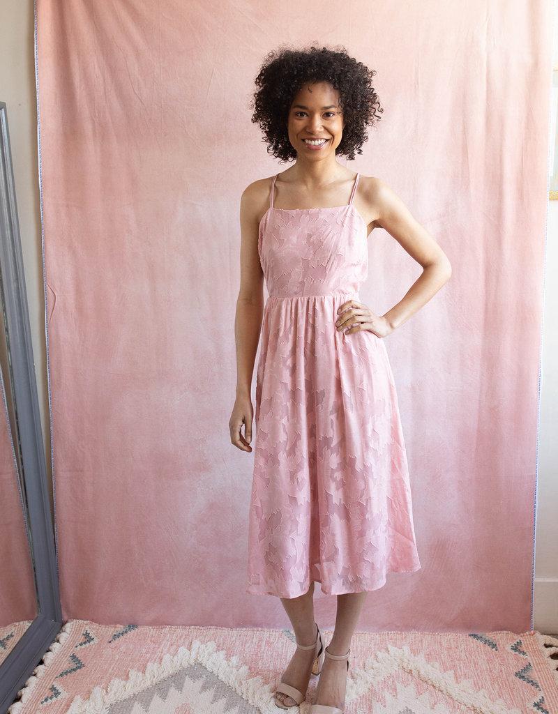 Adelyn Rae Gia Burnout Floral Midi Dress