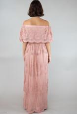 Cloud10 Rowan Off-the-Shoulder Lace Maxi Dress in Blush