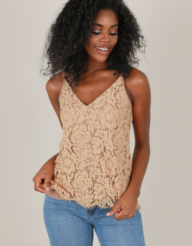 Space46 Jayla Lace Tank - Taupe