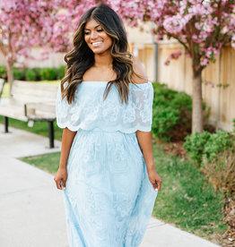 Cloud10 Rowan Off-the-Shoulder Lace Maxi Dress in Blue