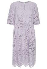 ICHI Fionn Midi Eyelet Dress - Lavender