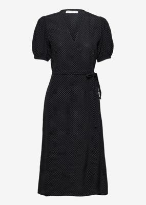 Faithfull Sumaia Wrap Midi Dress in Black Dot