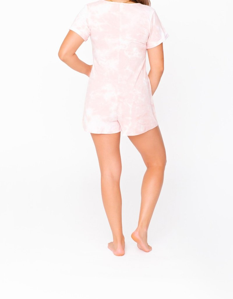 Smash + Tess Shorty Anyday Romper - Pink Tie Dye