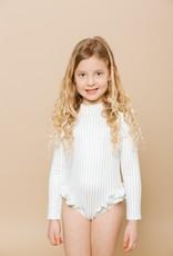 Imagine Perry Girls Long Sleeve Ruffle Bum Rashguard Suit - Sage