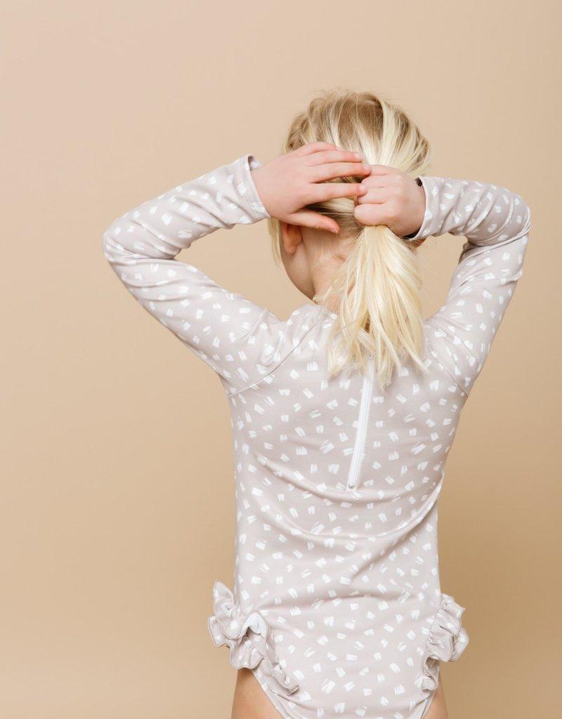 Imagine Perry Girls Long Sleeve Ruffle Bum Rashguard Suit  - Tan