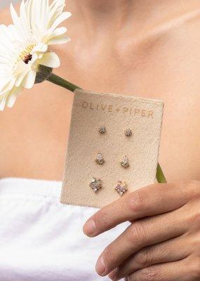 Olive & Piper Petite Stud Set - Vanilla