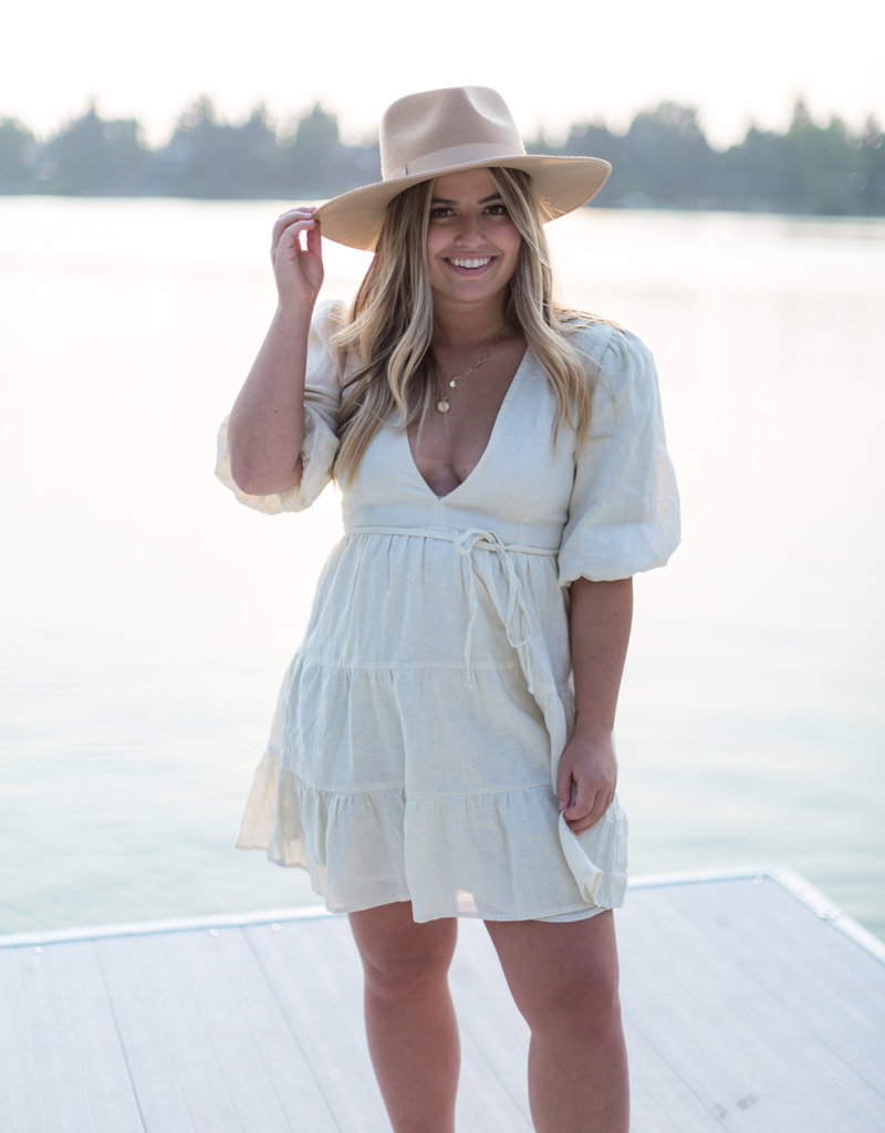 Faithfull Elmiya Mini Dress in Plain Cream