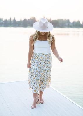 Saltwater Luxe Mina Midi Skirt in Wildflower Print