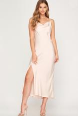 A Beauty by BNB Serra Satin Cowl Neck Midi Dress
