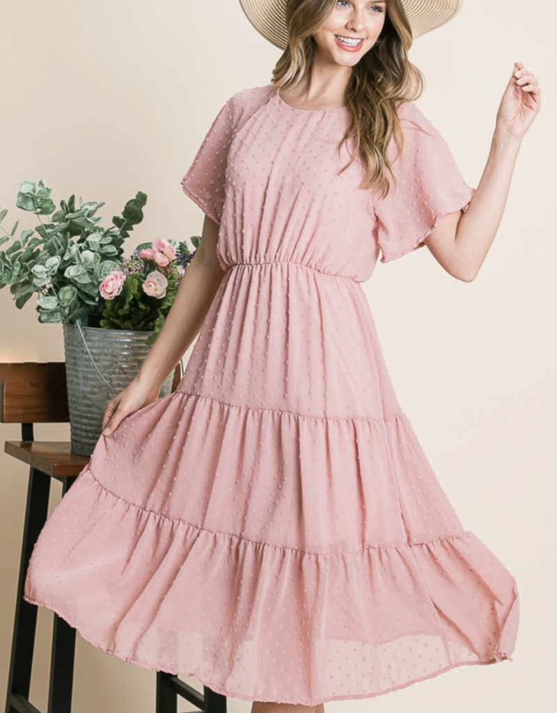Bluelemon Rosa Tiered Dot Midi Dress