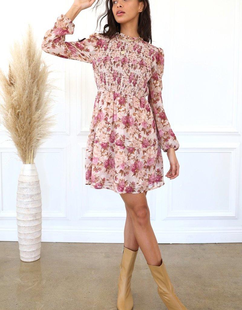 Adelyn Rae Darlene Fall Floral Smocked Dress