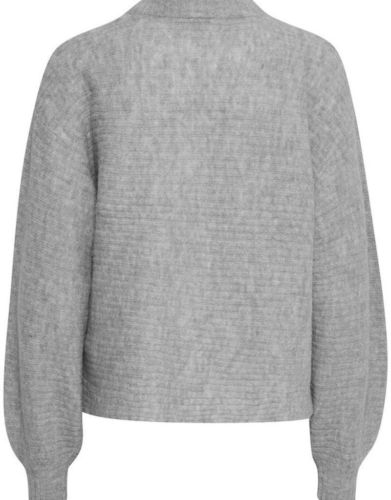 ICHI Amara Cropped Ribbed Pullover