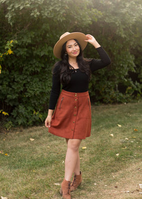 B.Young Dosa Button-Up Faux Suede Skirt