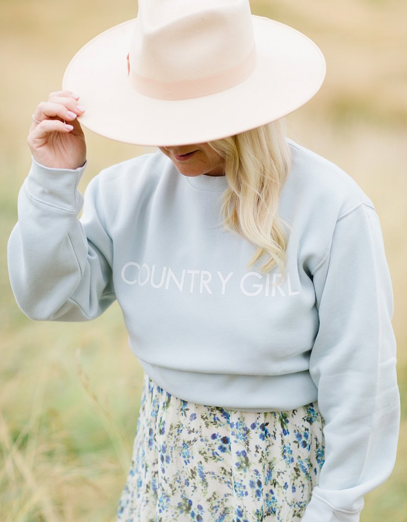 Brunette the Label Country Girl Crew in Summer Sky