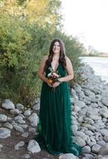 Luxxel Selena Tulle Maxi Dress in Dark Green