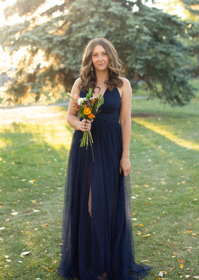 Luxxel Selena Tulle Maxi Dress in Navy