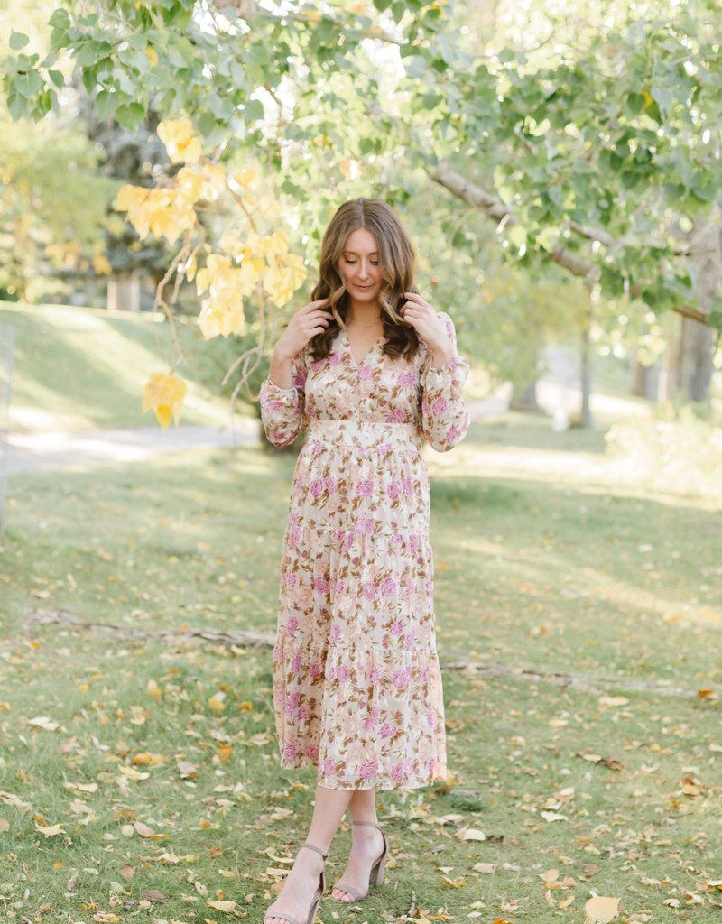 Adelyn Rae Susanne Fall Floral Midi Dress