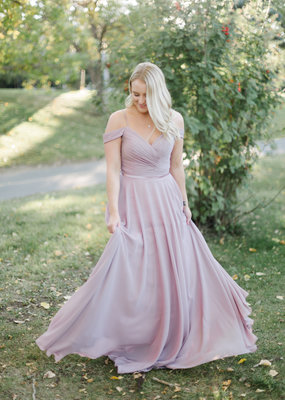 Amelia Couture - Baby Fox Amelia Sweetheart Pleated Gown in Pale Mauve