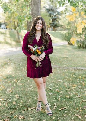 Adelyn Rae Sylvie Crinkled Velvet Faux Wrap Dress
