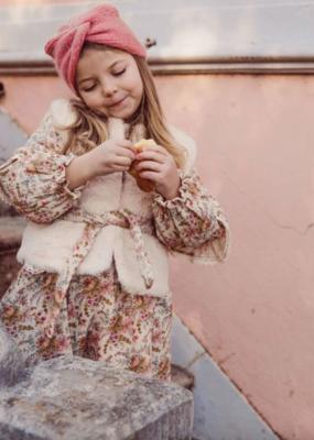 Louise Misha Girls Eva Reversible Vest in Cream French Flowers