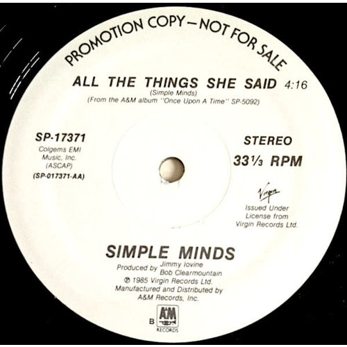 Simple Minds - All The Things She Said [USED]